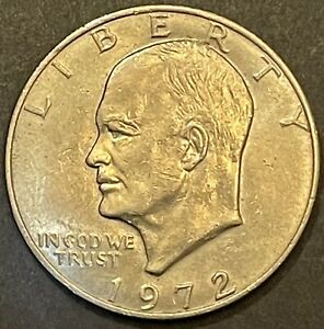1972 P EISENHOWER ONE DOLLAR   AU   NICELY DETAILED COIN