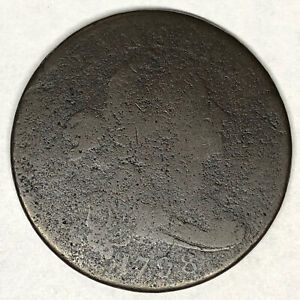 1798 DRAPED BUST LARGE CENT S 161 STYLE 1 HAIR RIM BREAK AT ATES LDS CUD