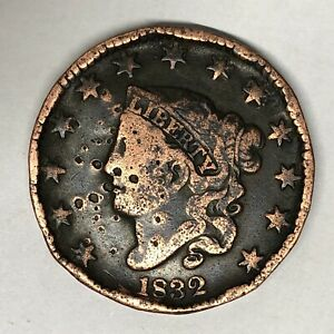 1832 CORONET HEAD LARGE CENT N 1 SMALL LETTERS  B