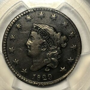 1829 CORONET OR MATRON HEAD LARGE CENT PCGS VF30 LARGE LETTERS N 8