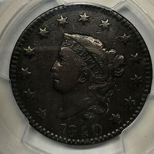 1820 CORONET OR MATRON HEAD LARGE CENT PCGS VF25 LARGE DATE