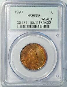 1903 CANADA LARGE CENT MS65 RED BROWN PCGS OGH TIED FOR FINEST