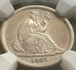 1837 SEATED  SILVER DIME NO STARS  KEY NGC SHARP DETAILS ERROR UNDERGRADED