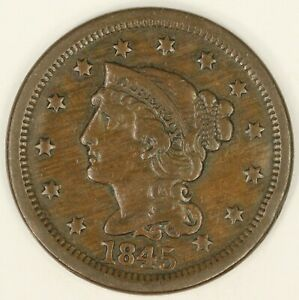 1845 BRAIDED HAIR LARGE CENT. CHOICE VF DETAILS. RAW3547/BH
