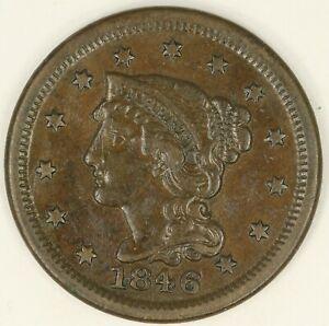 1846 MEDIUM DATE BRAIDED HAIR LARGE CENT. VF. RAW3549/BH