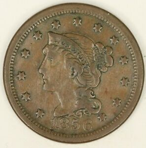 1856 UPRIGHT 5 BRAIDED HAIR LARGE CENT. VF DETAILS. RAW3550/BH