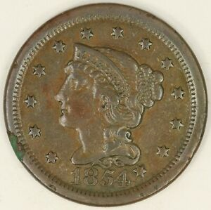 1854 BRAIDED HAIR LARGE CENT. VF DETAILS. RAW3552/BH