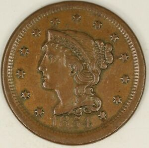 1854 BRAIDED HAIR LARGE CENT. MISALIGNED OBVERSE DIE.  VF DETAILS. RAW3553/BH