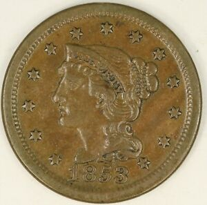 1853 BRAIDED HAIR LARGE CENT. VF DETAILS. RAW3555/BH