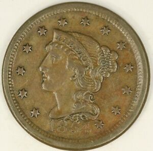 1854 BRAIDED HAIR LARGE CENT. VF DETAILS. RAW3556/BH