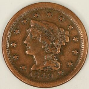 1849 BRAIDED HAIR LARGE CENT. VF DETAILS. RAW3557/BH