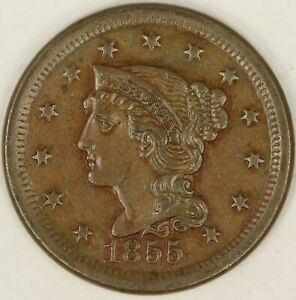 1855 UPRIGHT 5  BRAIDED HAIR LARGE CENT. XF DETAILS. RAW3558/BH