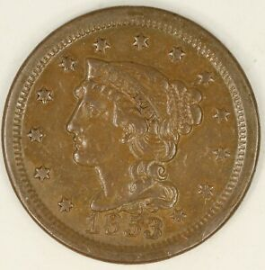 1853 BRAIDED HAIR LARGE CENT. VF DETAILS. RAW3559/BH