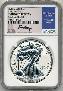 Click now to see the BUY IT NOW Price! 2019 S ENHANCED REV PROOF SILVER EAGLE NGC PF70 ED MOY COA 40 DAVID RYDER