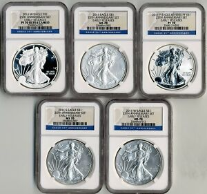 2011 W SILVER EAGLE 25TH ANNIVERSARY NGC MS/PF70 5 COIN SET EARLY RELEASES