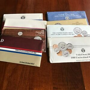 LOT OF 8 US MINT SETS 1984 1991 UNCIRCULATED COIN SET IN OGP