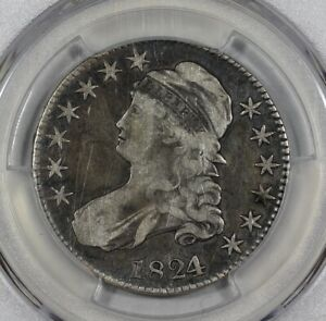 1824/1 50C SILVER CAPPED BUST HALF DOLLAR PCGS FINE DETAILS