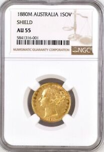 Click now to see the BUY IT NOW Price! 1880 GOLD SOVEREIGN MELBOURNE SHIELD  M   KEY YEAR  NGC GRADED AU55
