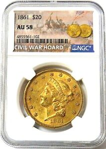 1861 GOLD $20 LIBERTY DOUBLE EAGLE TYPE 1 CIVIL WAR ERA NM COIN NGC ABOUT UNC 58