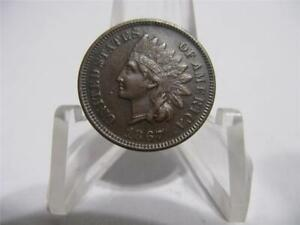 VERY  1867   INDIAN PENNY PQ GEM BU   COIN  NFM864