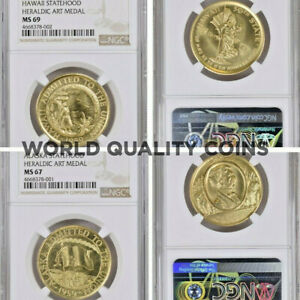 Click now to see the BUY IT NOW Price! 1959 1961 US GOLD SET 7 MEDALS HERALDIC ART  NGC MS69 MS68 MS67 LY