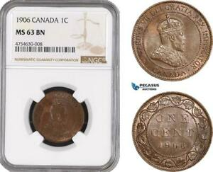 AE478 CANADA EDWARD VII 1 CENT 1906 NGC MS63BN