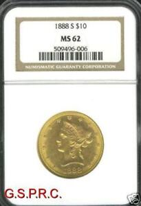 1888 S $10 LIBERTY EAGLE NGC MS62 NICE MS 62  DATE
