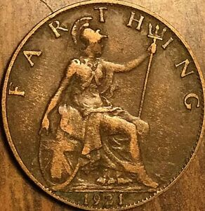 1921 UK GB GREAT BRITAIN FARTHING COIN