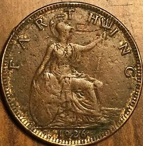1926 UK GB GREAT BRITAIN FARTHING COIN