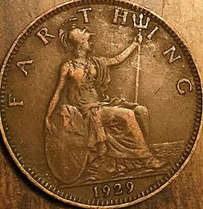 1929 UK GB GREAT BRITAIN FARTHING COIN