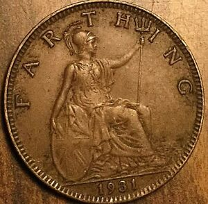 1931 UK GB GREAT BRITAIN FARTHING COIN