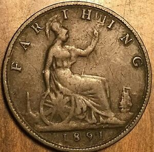 1891 UK GB GREAT BRITAIN FARTHING COIN