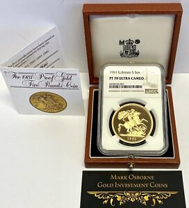 Click now to see the BUY IT NOW Price! 1981 GOLD PROOF FIVE POUNDS  5 5 SOVEREIGN  NGC TOP GRADED PF70 ULTRA CAMEO.