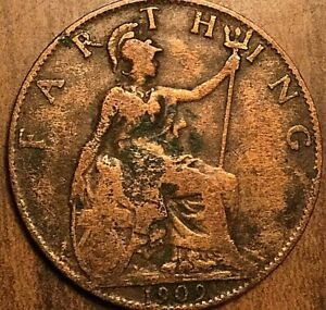 1909 UK GB GREAT BRITAIN FARTHING COIN