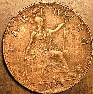 1932 UK GB GREAT BRITAIN FARTHING COIN