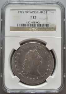 1795 $1 FLOWING HAIR DOLLAR NGC F 12 CHOICE FINE ORIGINAL ATTRACTIVE SURFACES