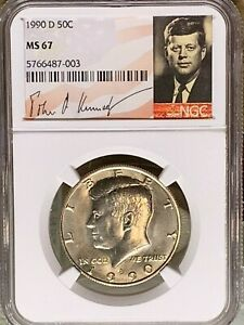 Click now to see the BUY IT NOW Price! 1990 D KENNEDY NGC GRADED MS 67 SIGNATURE LABEL PRICE GUIDE $750 TOP POP 1OF 44