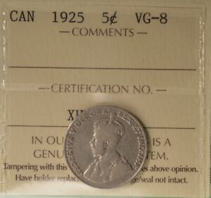1925 CANADA 5 CENTS   KEY DATE   ICCS VG 8    SERIAL  XHW 208