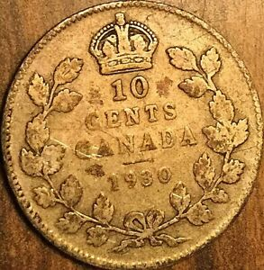 1930 CANADA SILVER 10 CENTS COIN DIME