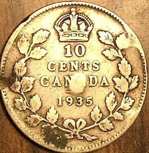 1935 CANADA SILVER 10 CENTS COIN DIME