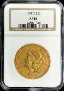 1851 O GOLD USA $20 LIBERTY DOUBLE EAGLE TYPE 1 COIN NGC LY FINE 45