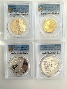 Click now to see the BUY IT NOW Price! 2020 75 ANNIV WWII GOLD AND SILVET 4 COIN SET PCGS PR 70