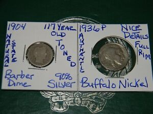 1904 P LIBERTY HEAD BARBER 90 SILVER DIME & 1936 P BUFFALO {NICE DETAIL} NICKEL