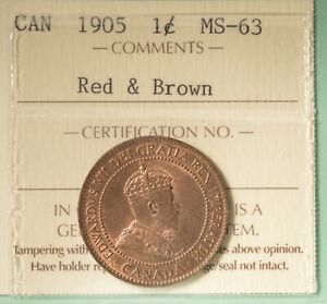 1905 CANADA LARGE CENT    GRADED   ICCS MS 63   SERIAL XHW 322
