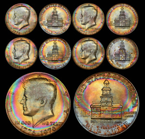 Click now to see the BUY IT NOW Price! SET OF 5 PCGS 1976 KENNEDY BICENTENNIAL HALF DOLLARS   STUNNING RAINBOW TONING