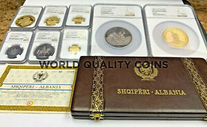 Click now to see the BUY IT NOW Price! ALBANIA 1968 SET 8 GOLD SILVER COINS PRINCE SKANDERBEG'S DEATH NGC PF60 68