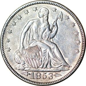 1853 50C ARROWS & RAYS SEATED LIBERTY HALF DOLLAR AU  K12178