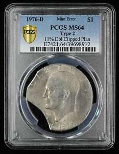 1976 D EISENHOWER DOLLAR COIN $1 PCGS MS64 TYPE 2 ERROR COIN DOUBLE CLIPPED PLAN