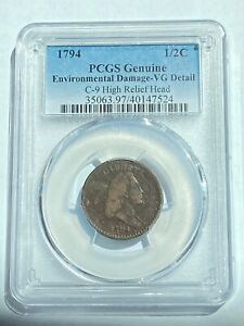 1794 1/2 CENT PCGS CERTIFIED VG DETAILS C 9 HIGH RELIEF HEAD