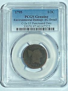 1795 1/2 CENT PCGS CERTIFIED AG DETAILS C 2A LE PUNCTUATED DATE